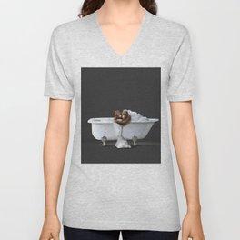 Orangutans in Bath Unisex V-Neck