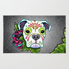 Boxer in White- Day of the Dead Sugar Skull Dog Rug