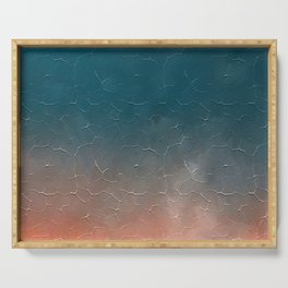Modern  Textured  Atlantic Blue Abstract Serving Tray