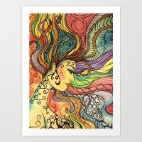 hippie Art Prints featuring Hippie  by Crystal Streit-Beetham