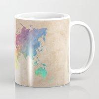 world maps Mugs featuring World Map Maps by jbjart