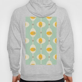 70s Funky Yellow and White Retro Oval Mint Abstract Design Hoody