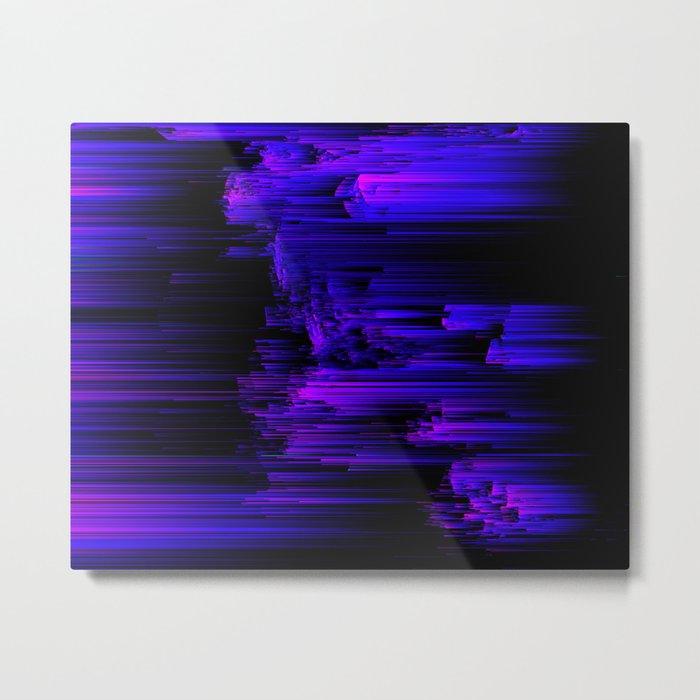 Ultraviolet Light Speed - Abstract Glitch Pixel Art Metal Print