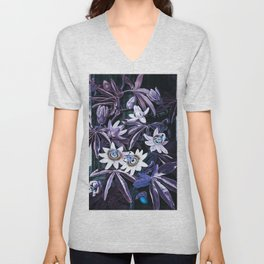 Muted Puce & Blue Passion Flowers Temple of Flora Unisex V-Neck
