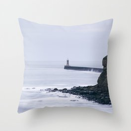 North Pier Lighthouse at dawn. Tynemouth, Northumberland, UK. Throw Pillow