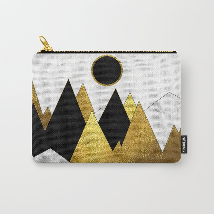 Landscape Marble, Black & Gold Carry-All Pouch