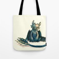 toothless Tote Bags featuring Toothless by Alice X. Zhang