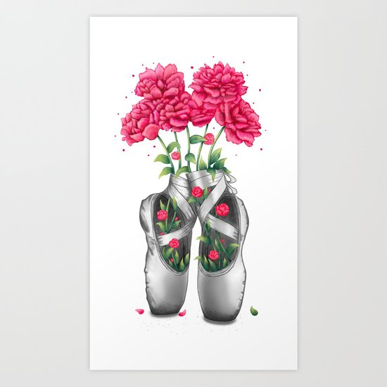 Pointe with pink peonies Art Print