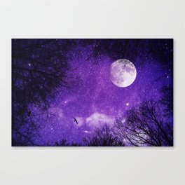 Nightsky with Full Moon in Ultra Violet Canvas Print