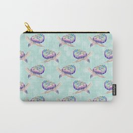 Cute colorful ocean turtles pastel mint watercolor design Carry-All Pouch