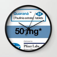 posters Wall Clocks featuring Kitchen Posters - Viagra/Guarana by mvaladao