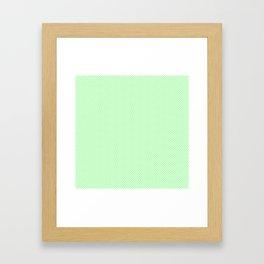Classic Mint Green & White Herringbone Pattern Framed Art Print