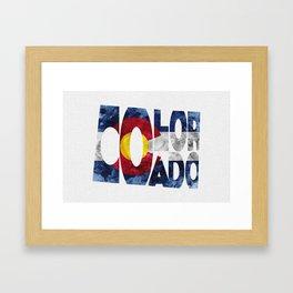 Colorado Typographic Flag Map Art Framed Art Print