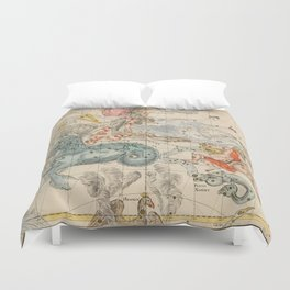 Vintage Celestial & Astrological Map  (1693) Duvet Cover