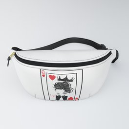 Black Queen Of Hearts Blackjack Cards Poker Couple Fanny Pack