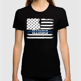 IL Illinois State Police Gift for Policeman, Cop or State Trooper Thin Blue Line T-shirt