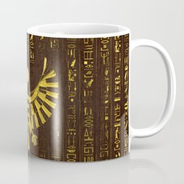Golden Egyptian Horus Falcon and hieroglyphics on wood Coffee Mug