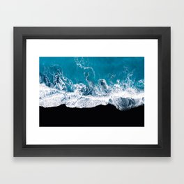 Black sand beach with waves and blue Ocean in Iceland – Minimal Photography Framed Art Print