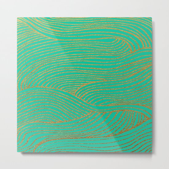 Wind Gold Turquoise Metal Print