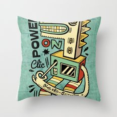 Power on - blue Throw Pillow