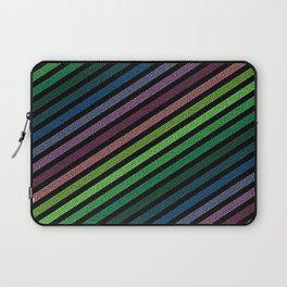Dark Pixel strIpes Green Teal Blue Purple Mauve Laptop Sleeve