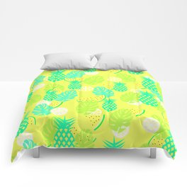 Watermelons and pineapples in yellow Comforters