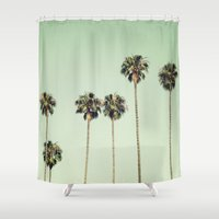 palm trees Shower Curtains featuring Palm Trees  by Laura Ruth