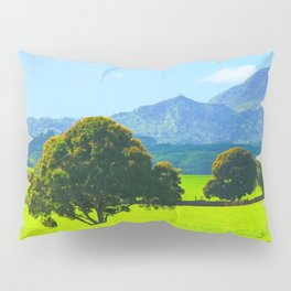 green tree in the green field with green mountain and blue sky background Pillow Sham