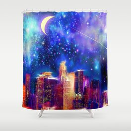 Starry Night Los Angeles Shower Curtain