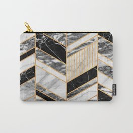Abstract Chevron Pattern - Black and White Marble Carry-All Pouch