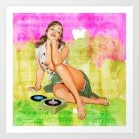 rock n roll Art Prints featuring Rock n Roll Deva by Moonlake Designs