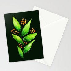 Abstract Watercolor Green Plant With Orange Berries Stationery Cards