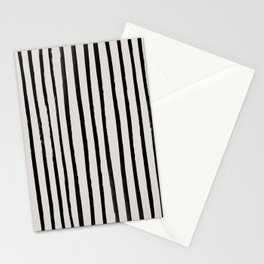 Vertical Black and White Watercolor Stripes Stationery Cards