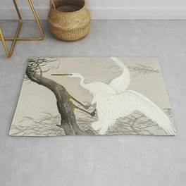 White Heron Sitting On A Tree Branch - Vintage Japanese Woodblock Print Art Rug