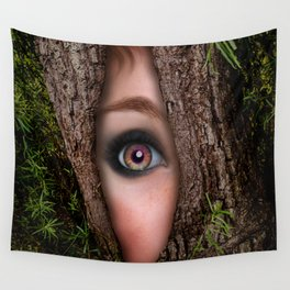 Beautiful Face trapped in a tree trunk Wall Tapestry