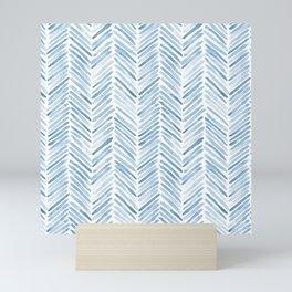 Baby blue watercolor herringbone  Mini Art Print