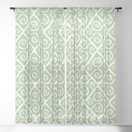 Mid Century Modern Diamond Swirl Pattern Sage Green Sheer Curtain