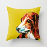 beagle Throw Pillows featuring Beagle by James Peart