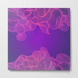 Heat Wave II colorful illustrated abstract waves Metal Print