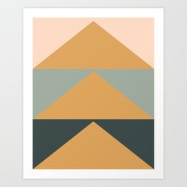 Triangles in Blush, Gray, and Honey Art Print