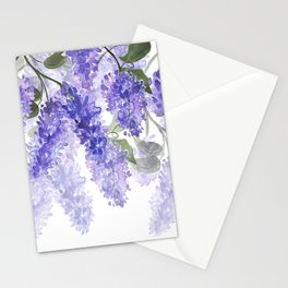 Purple Wisteria Flowers Stationery Cards
