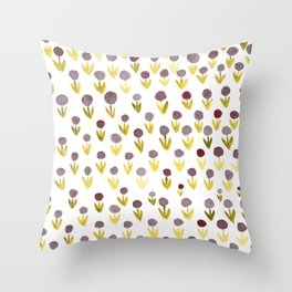 Dot flowers - olive, grey and garnet Throw Pillow