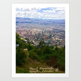 Mount Monserrate, with a 10,000 ft view of Bogota Colombia Art Print