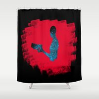 mass effect Shower Curtains featuring Subject Zero/Jack (Mass Effect) by MajesticSeahawk Designs