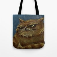 fat Tote Bags featuring Fat Cat by Havard Glenne