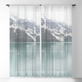 Hubbard Glacier Snowy Mountains Alaska Wilderness Sheer Curtain