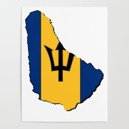 Barbados Map with Barbadian Flag Poster