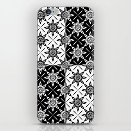 Clover and Blossoms - Color: Black&White iPhone Skin