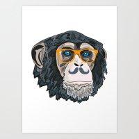 monkey Art Prints featuring Monkey! by  Steve Wade ( Swade)