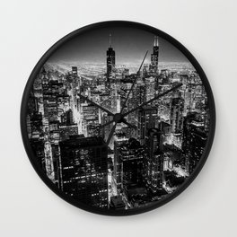 Nighttime Chicago Skyline Wall Clock